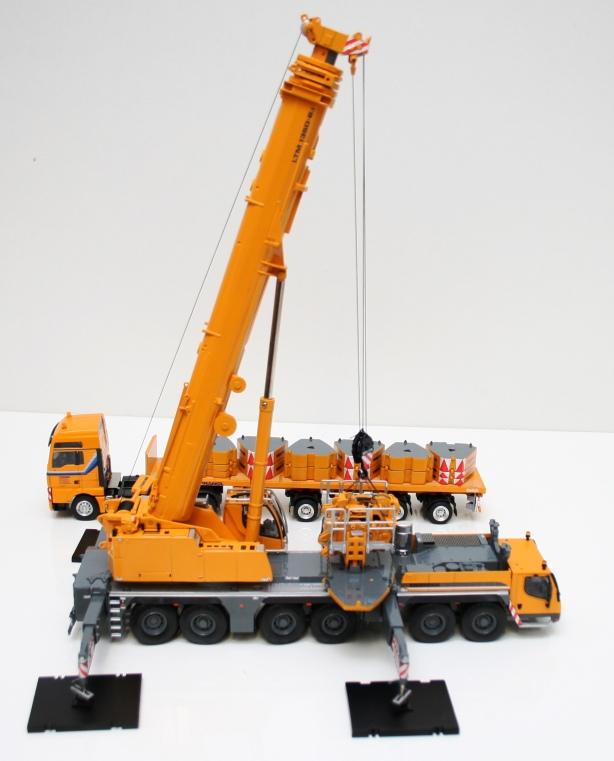 Macheta macara Liebherr LTM 1350-6.1 - instalarea contragreutatilor